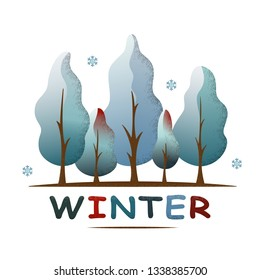 Winter forest landscape. Snowy trees and snowflakes. Environment and ecology concept. For social media, web pages, banner, poster, education materials. Semi flat isolated vector illustration.
