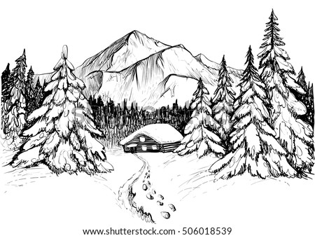 Winter Forest Mountains Sketch Black White Stock Vector ...