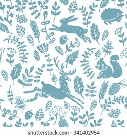 Winter forest pattern.  Seamless pattern for fabric, paper and other printing and web projects.
