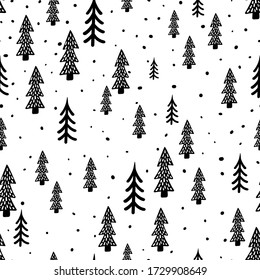 Winter forest scandinavian hand drawn seamless pattern. New Year, Christmas, holidays white texture with fir tree for print, paper, design, fabric, decor, gift wrap, background. Vector illustration