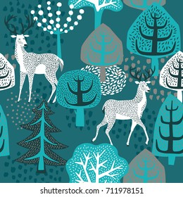 Winter forest. seamless pattern.