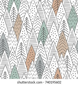 Winter forest seamless pattern. Graphical lines and coloring. Scandinavian style. Vector illustration.