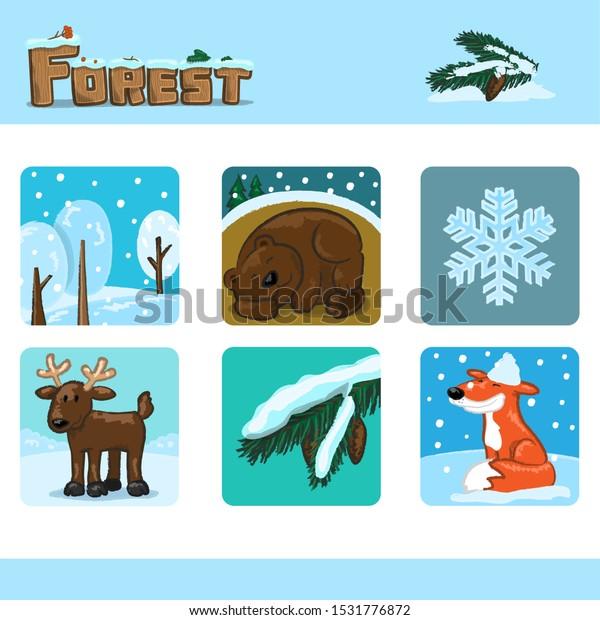 Winter forest set 1. Vector Illustration