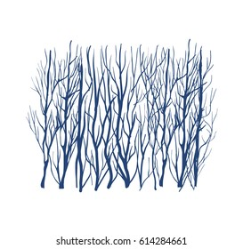 Winter forest silhouette, blue colors abstract nature illustration
