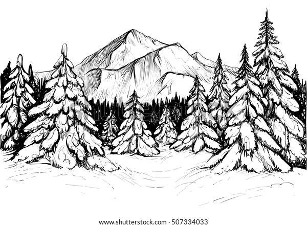 Vetor Stock De Esboço Da Floresta De Inverno Ilustração