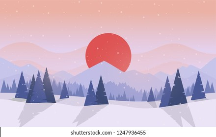 Winter forest. Sunset or sunrise. Forest with fir trees and pines. Big red sun. Japan. Simple modern design. Template for banner or poster. Place for text. Flat style vector illustration.
