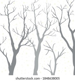 Winter Forest tree silhouettes, empty background