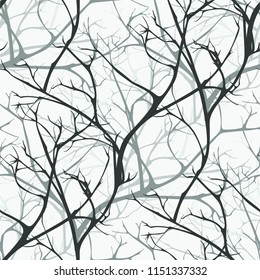 Winter forest vector seamless pattern of  branches texture wood background