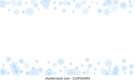 Winter frame with blue snowflakes for Christmas and New Year celebration. Horizontal winter frame on white background  for banners, gift coupons, vouchers, ads, party events. Falling frosty snow.