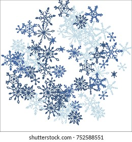 Winter Frame with Cute Doodle Snowflakes. Blue Christmas Background. Pretty New Year Background. Cute Vector Pattern for Card, Poster, Banner. Frosty Cartoon Snowflakes in Trendy Style