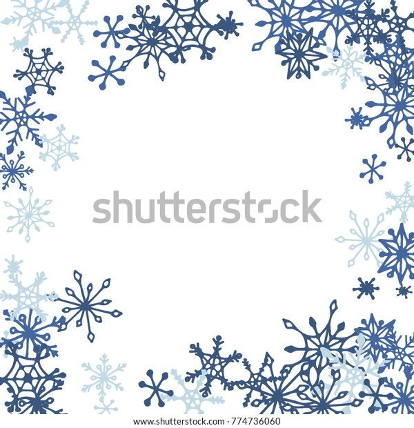 winter frame cute doodle snowflakes blue stock vector royalty free 774736060 https www shutterstock com image vector winter frame cute doodle snowflakes blue 774736060