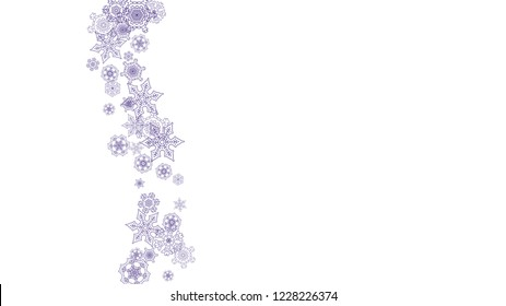 Winter frame withultra violet snow. Snowflake border for flyer, gift card, invitation, business offer and ad. Christmas background with winter frame for holiday banner. New Year snowy backdrop