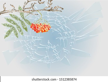 winter frost. branch with berry and leaf under snow