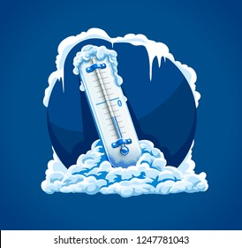 Winter frost. Cold weather. Thermometer with low temperature in snow, frosted and frozen icicles. Concept sign for Weather Forecast in blue circle. EPS10 vector illustration.