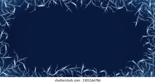Winter frost ornament frame. Frozen glass with tangled ice crystals texture