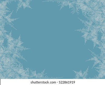 Winter frosted window background. Freeze and wind at the glass. Vector illustration. Design texture
