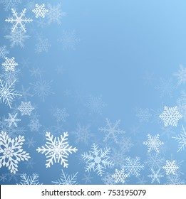 Winter frozen background with snowflakes, christmas vector background.