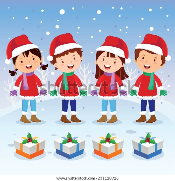 Winter Fun Christmas Carols Children Choir Stock Vector Royalty Free 231120928