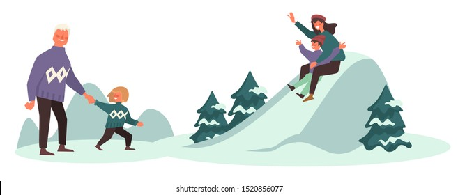 Winter fun on vacation, family sloping from hills outdoors vector. Mother and kid at mountain peak. Dad with child walking to mom and sibling. Parents and children spending time outside flat style