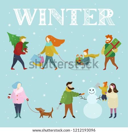 94cd5d81f Winter Fun Outdoor Activities Set Abstract Stock Vector (Royalty ...