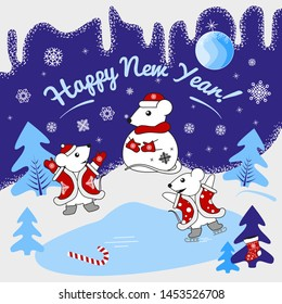 Winter fun white mice. Mice blinded snow mouse (snowman) and rejoice, play, skate. Vector illustration for a postcard, poster or picture for the holiday.