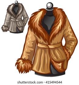 Winter fur coats. Vector illustration.