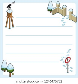 Winter garden with singing bird, bird house, trees and wall entrance covered with snow and footprints (christmas template, framed and lined for your own text)