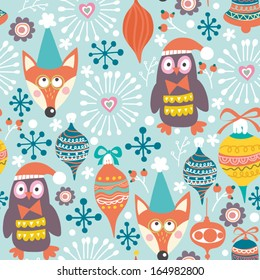 Winter gentle pattern with foxes, birds, snowflakes and flowers.