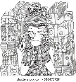 Coloring Pages Adults Cute Girl Images Stock Photos