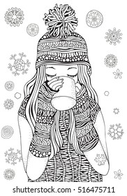 Winter girl and gifts Winter snowflakes. Adult Coloring book page. Hand-drawn vector illustration. Pattern for coloring book. Zentangle.  A4 size coloring book page for adult and children.