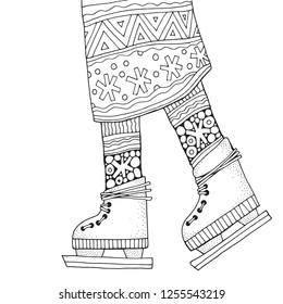 Winter girl on skates.   Adult Coloring book page. Hand-drawn vector illustration.Vertical pattern for coloring book with legs. Zentangle. Black and white.