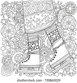 Winter girl on skates.  Winter snowflakes. Adult Coloring book page. Hand-drawn vector illustration. Pattern for coloring book. Zentangle. Black and white.