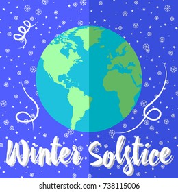 Winter Solstice? Globes with continents, sunlight and shadows. Showflakes and stars.
