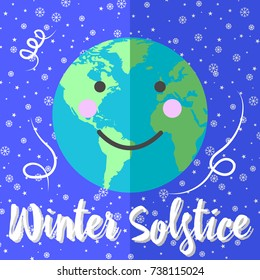 Winter Solstice? Globes with continents, sunlight and shadows. Showflakes and stars. Cute Face