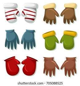 Winter gloves and mittens set for men and women. Vector cartoon icons isolated on white background. Clothes for cold weather.