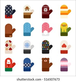 winter gloves object vector illustration flat design