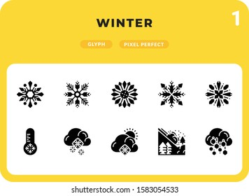 Winter Glyph Icons Pack for UI. Pixel perfect thin line vector icon set for web design and website application.