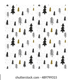 Winter graphic seamless pattern with christmas trees. Hand drawn vector illustration. Wrapping paper Christmas.