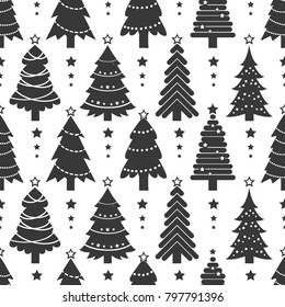 Winter graphic seamless pattern with christmas trees. Wrapping paper Christmas. Black fir-tree on white background. Isolated