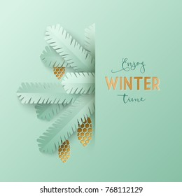 Winter greeting card template with silver spruce branches and cones. Paper cut art style composition with gold foil embossed elements. Vector illustration