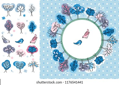 Winter greeting card. trees and birds. Round frame. Template for your design, festive greeting cards,  announcements, posters.