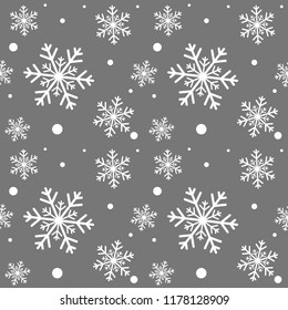Winter grey background with white snowflakes. For textile, paper, scrapbooking, wrapping, web and print design. Seamless pattern. Vector illustration. Christmas and New Year design