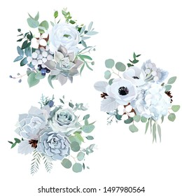 Winter grey and green jade color vector design bouquets. Ranunculus, succulent, anemone, hydrangea, cotton, brunia, rose, eucalyptus, greenery. Trendy pastel wedding collection. Isolated and editable