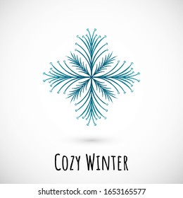 Winter hand draw blue snowflake icon with text on vignette background. Simple doodle design. Vector illustration with nice phrase for winter holidays card and events, wrapping paper and textile.