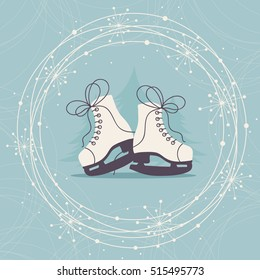 Winter Hand Drawn  Card with Ice Skates and Snowflakes.