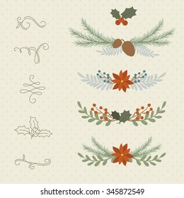 Winter hand drawn plant borders and dividers. Berries, poinsettia, branches, pine cones. Hand drawn curls and swirls.