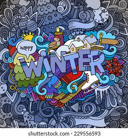 Winter hand lettering and doodles elements background. Vector illustration
