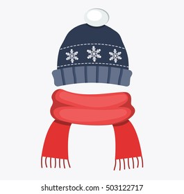 winter  hat cap with snowflake and pompom red scarf flat design vector illustration
