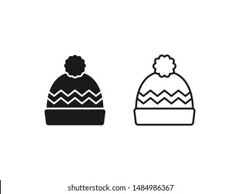 Winter hat icon. Vector in simple flat design, outline. Knit wool beanie with pompom isolated on white background. Illustration for graphic, web, logo, app, UI. Outerwear symbol.