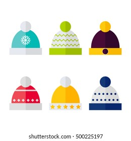 Winter hat isolated icons on white background. Winter hats collection. Flat  vector illustration design 6550250682a6